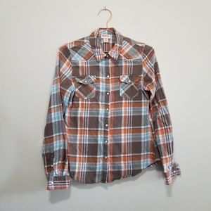 Mossimo pearl snap plaid flannel